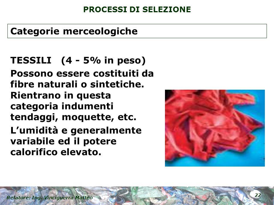 Relatore: Ing. Vinciguerra Matteo 22 PROCESSI DI SELEZIONE TESSILI (4 - 5% in peso) Possono essere costituiti da fibre naturali o sintetiche. Rientran