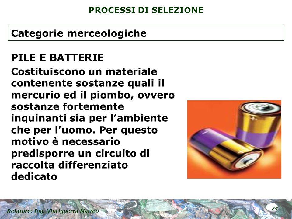 Relatore: Ing. Vinciguerra Matteo 24 PROCESSI DI SELEZIONE PILE E BATTERIE Costituiscono un materiale contenente sostanze quali il mercurio ed il piom