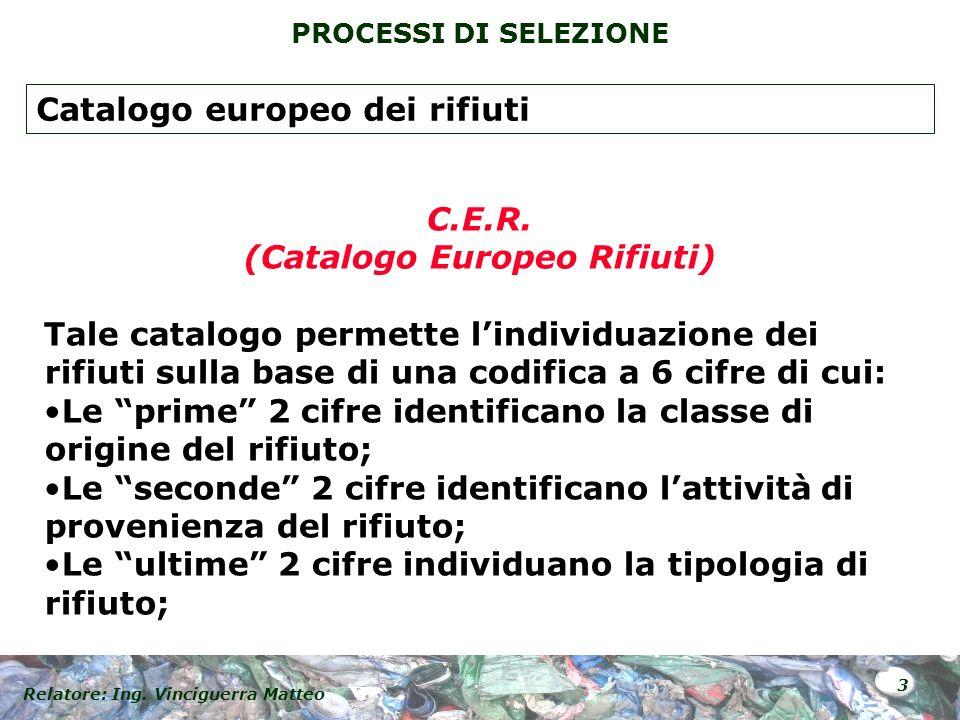Relatore: Ing. Vinciguerra Matteo 3 PROCESSI DI SELEZIONE C.E.R. (Catalogo Europeo Rifiuti) Tale catalogo permette lindividuazione dei rifiuti sulla b