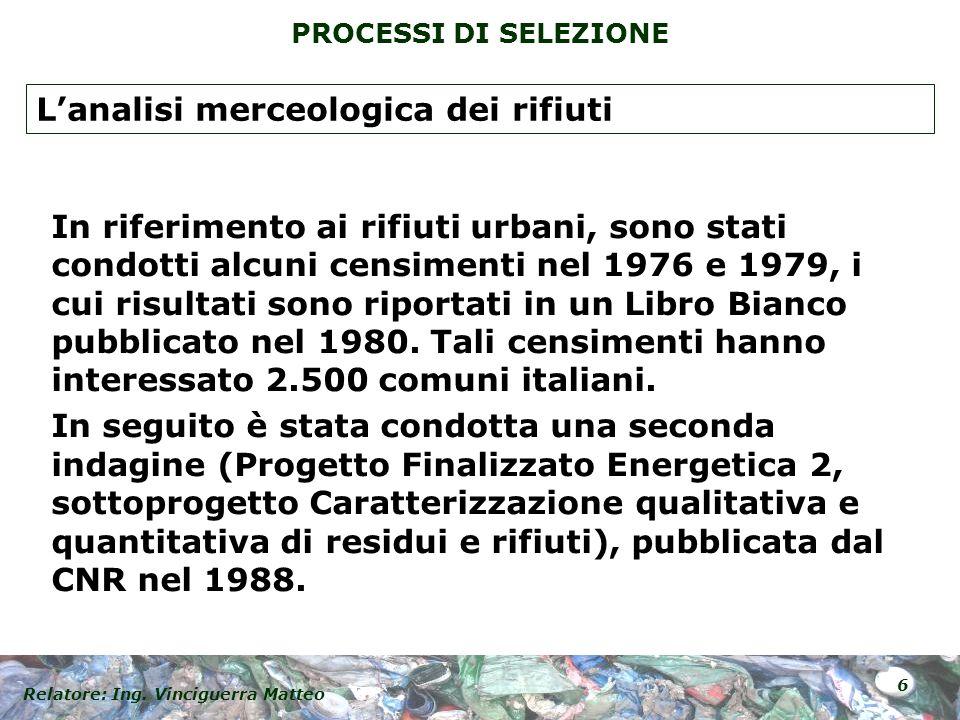 Relatore: Ing. Vinciguerra Matteo 6 PROCESSI DI SELEZIONE In riferimento ai rifiuti urbani, sono stati condotti alcuni censimenti nel 1976 e 1979, i c