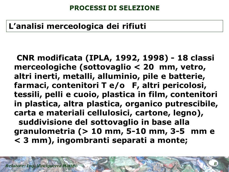 Relatore: Ing. Vinciguerra Matteo 8 PROCESSI DI SELEZIONE CNR modificata (IPLA, 1992, 1998) - 18 classi merceologiche (sottovaglio 10 mm, 5-10 mm, 3-5