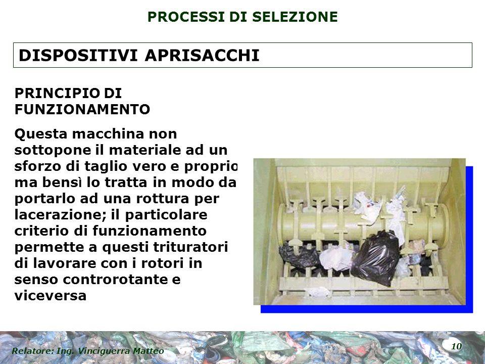 Relatore: Ing. Vinciguerra Matteo 10 PROCESSI DI SELEZIONE PRINCIPIO DI FUNZIONAMENTO Questa macchina non sottopone il materiale ad un sforzo di tagli
