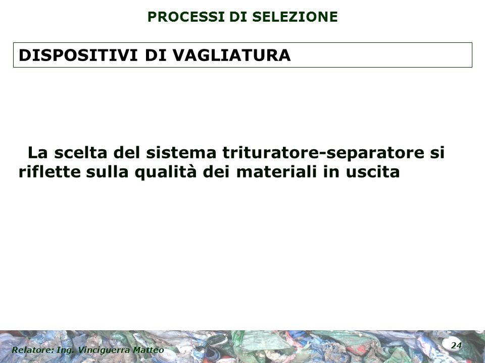 Relatore: Ing. Vinciguerra Matteo 24 PROCESSI DI SELEZIONE La scelta del sistema trituratore-separatore si riflette sulla qualità dei materiali in usc