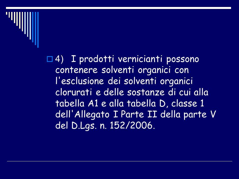 4) I prodotti vernicianti possono contenere solventi organici con l'esclusione dei solventi organici clorurati e delle sostanze di cui alla tabella A1