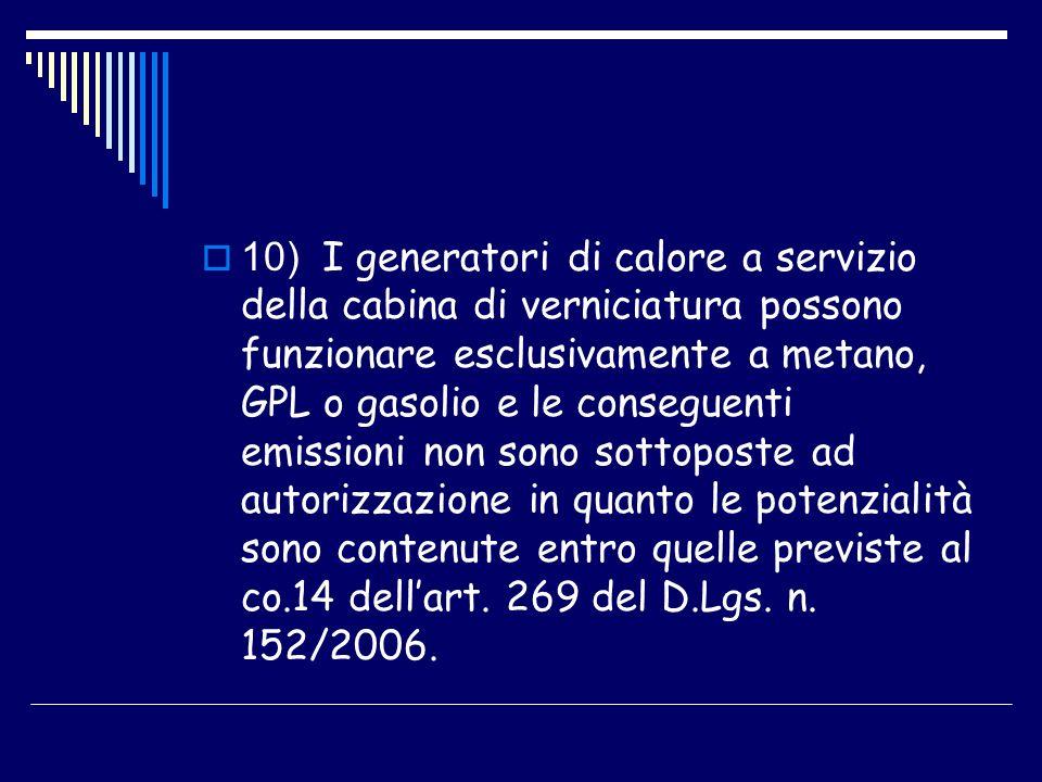 10) I generatori di calore a servizio della cabina di verniciatura possono funzionare esclusivamente a metano, GPL o gasolio e le conseguenti emission