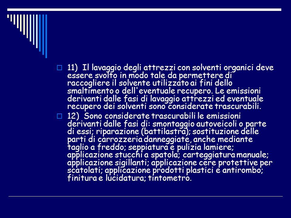 11) Il lavaggio degli attrezzi con solventi organici deve essere svolto in modo tale da permettere di raccogliere il solvente utilizzato ai fini dello
