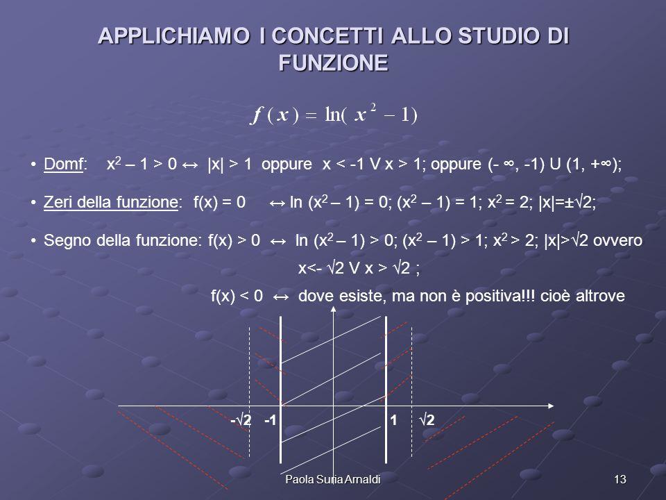 13Paola Suria Arnaldi APPLICHIAMO I CONCETTI ALLO STUDIO DI FUNZIONE Domf: x 2 – 1 > 0 |x| > 1 oppure x 1; oppure (-, -1) U (1, +); Zeri della funzion