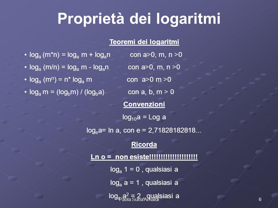 6Paola Suria Arnaldi Proprietà dei logaritmi Teoremi dei logaritmi log a (m*n) = log a m + log a n con a>0, m, n >0 log a (m/n) = log a m - log a n co
