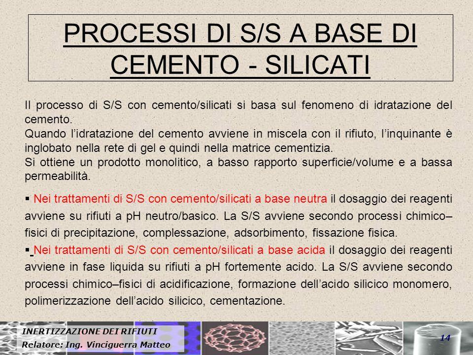 INERTIZZAZIONE DEI RIFIUTI Relatore: Ing. Vinciguerra Matteo 14 PROCESSI DI S/S A BASE DI CEMENTO - SILICATI Il processo di S/S con cemento/silicati s