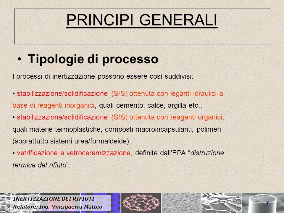 INERTIZZAZIONE DEI RIFIUTI Relatore: Ing. Vinciguerra Matteo 3 PRINCIPI GENERALI Tipologie di processo I processi di inertizzazione possono essere cos