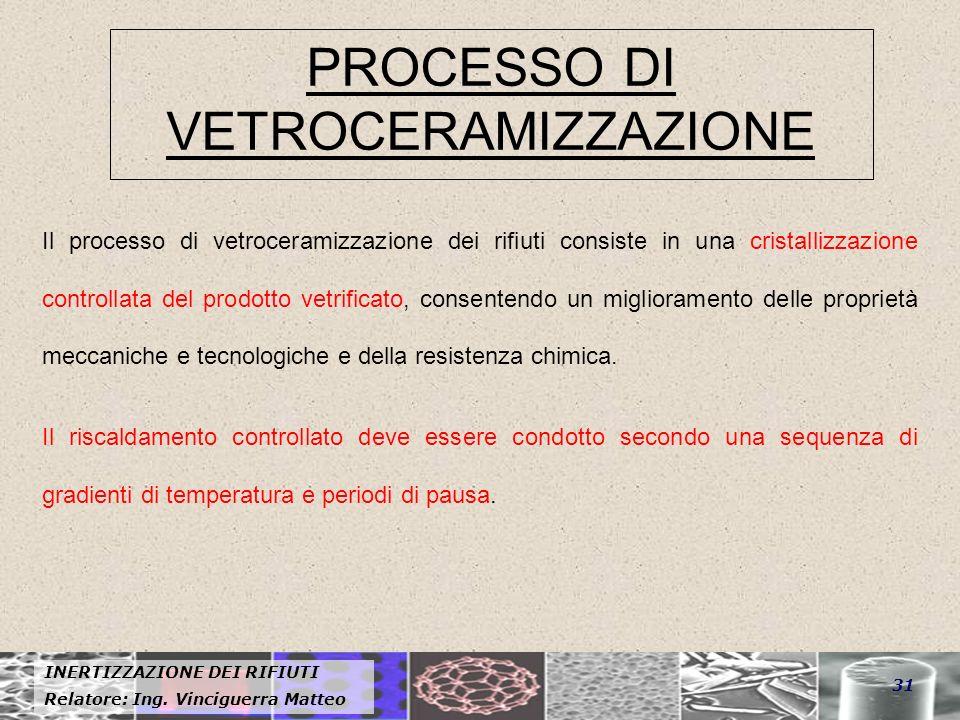 INERTIZZAZIONE DEI RIFIUTI Relatore: Ing. Vinciguerra Matteo 31 PROCESSO DI VETROCERAMIZZAZIONE Il processo di vetroceramizzazione dei rifiuti consist