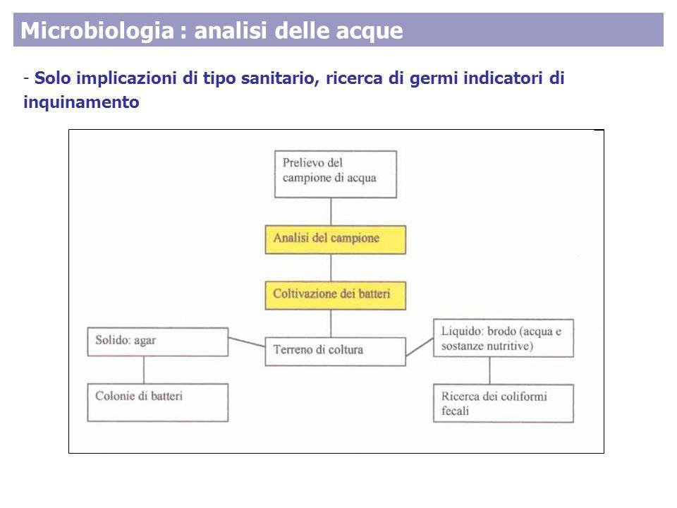 Microbiologia : analisi delle acque - Solo implicazioni di tipo sanitario, ricerca di germi indicatori di inquinamento
