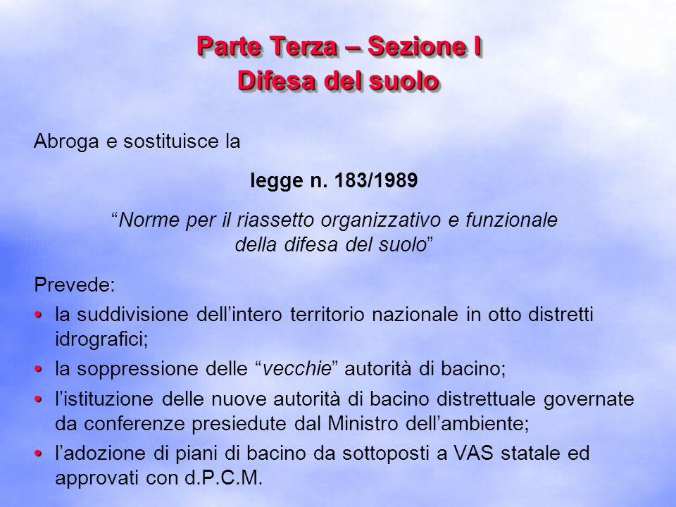Parte Terza – Sezione II Tutela delle acque dallinquinamento Abroga e sostituisce il decreto legislativo n.