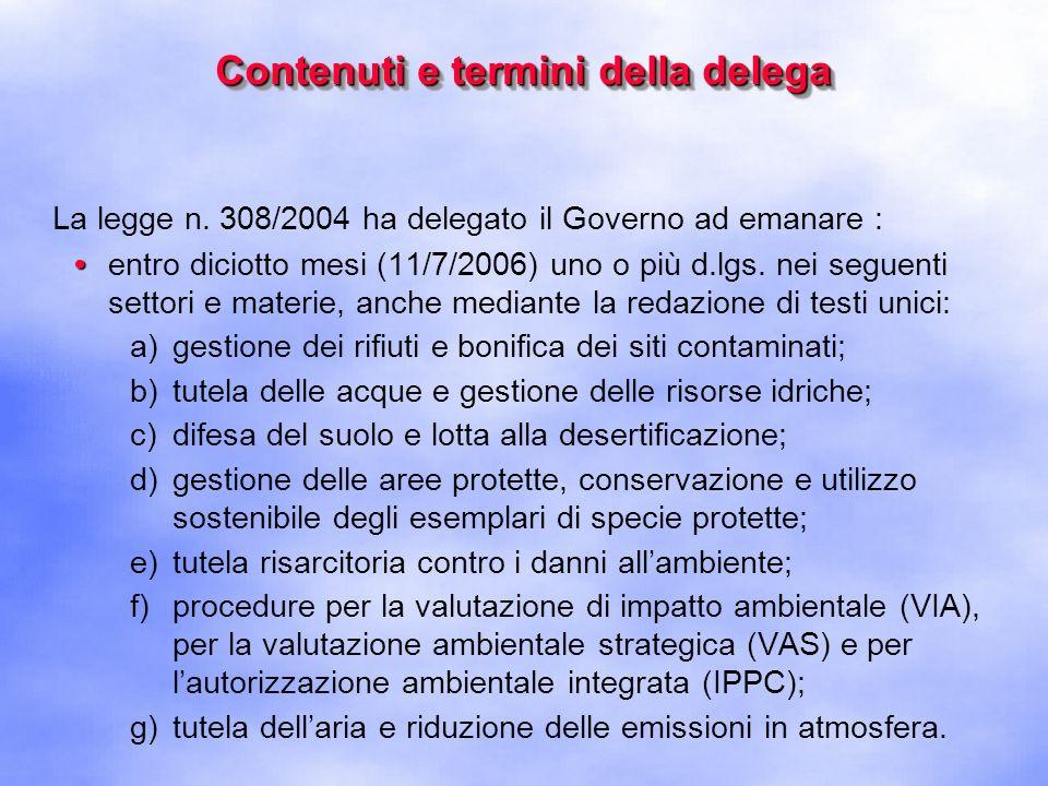 Contenuti e termini della delega La legge n.