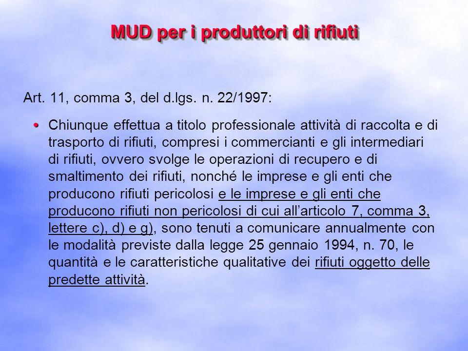 MUD per i produttori di rifiuti Art.189, comma 3, del d.lgs.