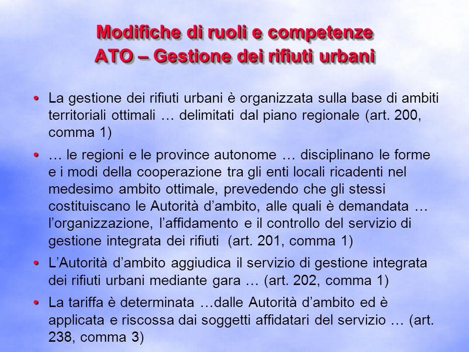 Modifiche di ruoli e competenze Albo nazionale gestori ambientali LAlbo nazionale delle imprese che effettuano la gestione dei rifiuti, previsto dallart.