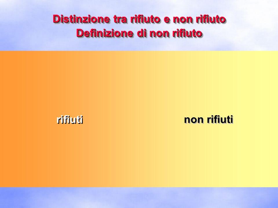 Distinzione tra rifiuto e non rifiuto Definizione di non rifiuto rifiuti non rifiuti definizione (italiana) di rifiuto