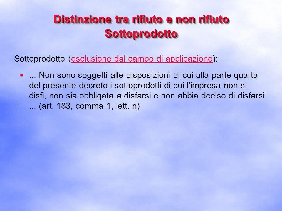 Distinzione tra rifiuto e non rifiuto Sottoprodotto Sottoprodotto (esempio):...