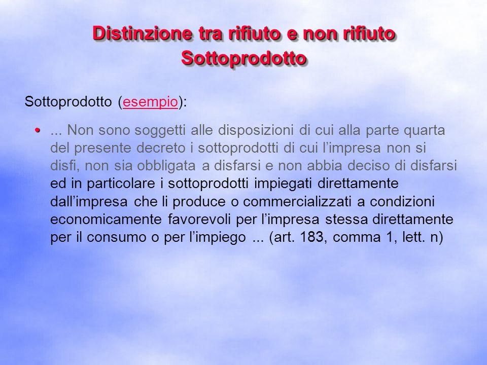 Distinzione tra rifiuto e non rifiuto Sottoprodotto Sottoprodotto (prima condizione):...