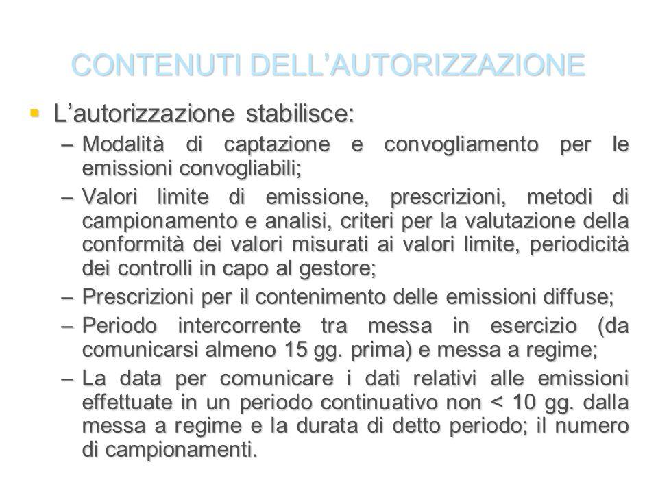 CONTENUTI DELLAUTORIZZAZIONE Lautorizzazione stabilisce: Lautorizzazione stabilisce: –Modalità di captazione e convogliamento per le emissioni convogl