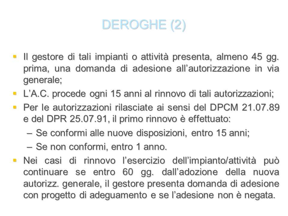 DEROGHE (2) Il gestore di tali impianti o attività presenta, almeno 45 gg. prima, una domanda di adesione allautorizzazione in via generale; Il gestor