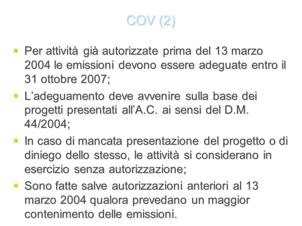 COV (2) Per attività già autorizzate prima del 13 marzo 2004 le emissioni devono essere adeguate entro il 31 ottobre 2007; Per attività già autorizzat