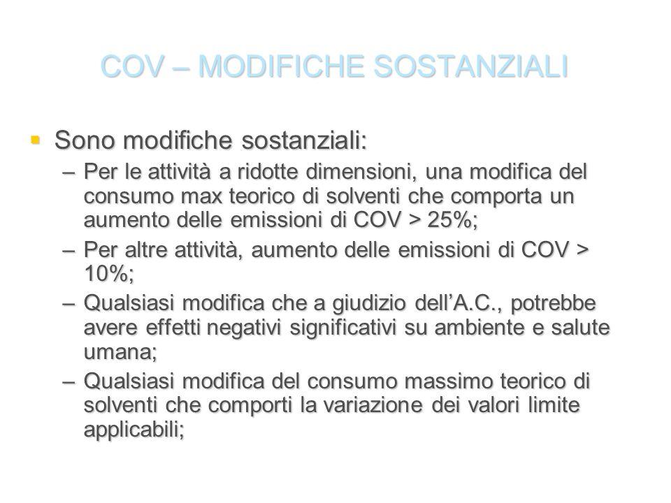 COV – MODIFICHE SOSTANZIALI Sono modifiche sostanziali: Sono modifiche sostanziali: –Per le attività a ridotte dimensioni, una modifica del consumo ma