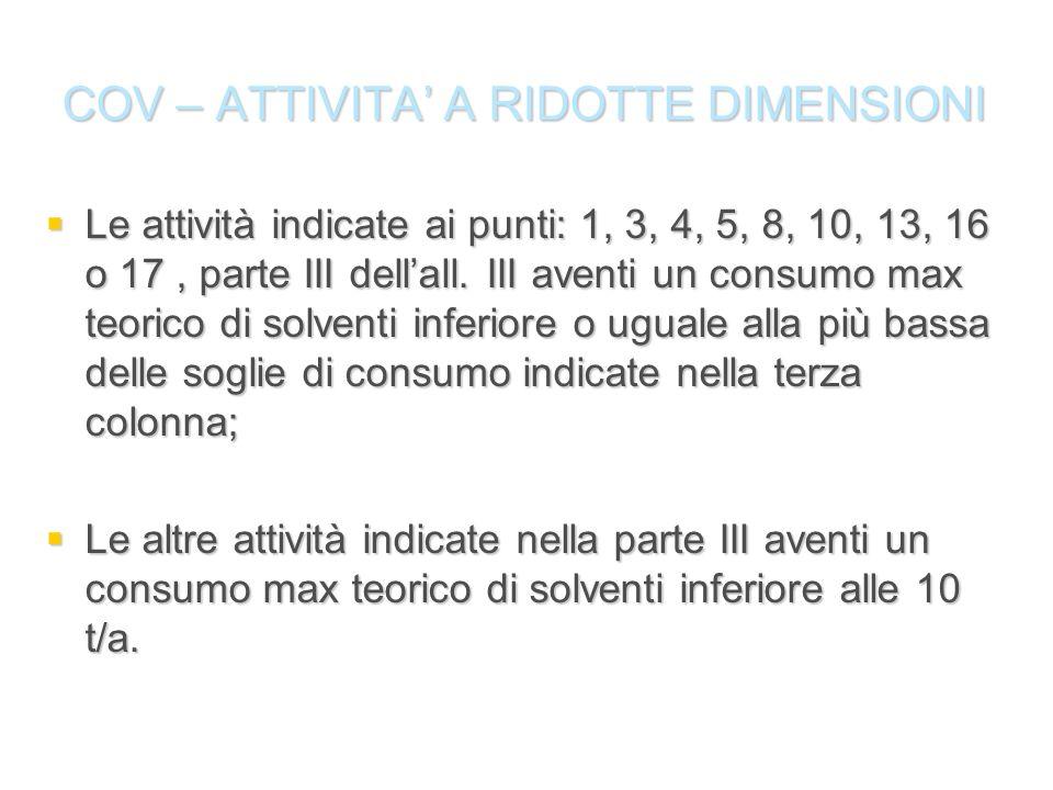 COV – ATTIVITA A RIDOTTE DIMENSIONI Le attività indicate ai punti: 1, 3, 4, 5, 8, 10, 13, 16 o 17, parte III dellall. III aventi un consumo max teoric