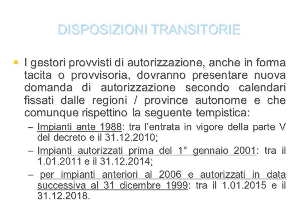 DISPOSIZIONI TRANSITORIE I gestori provvisti di autorizzazione, anche in forma tacita o provvisoria, dovranno presentare nuova domanda di autorizzazio