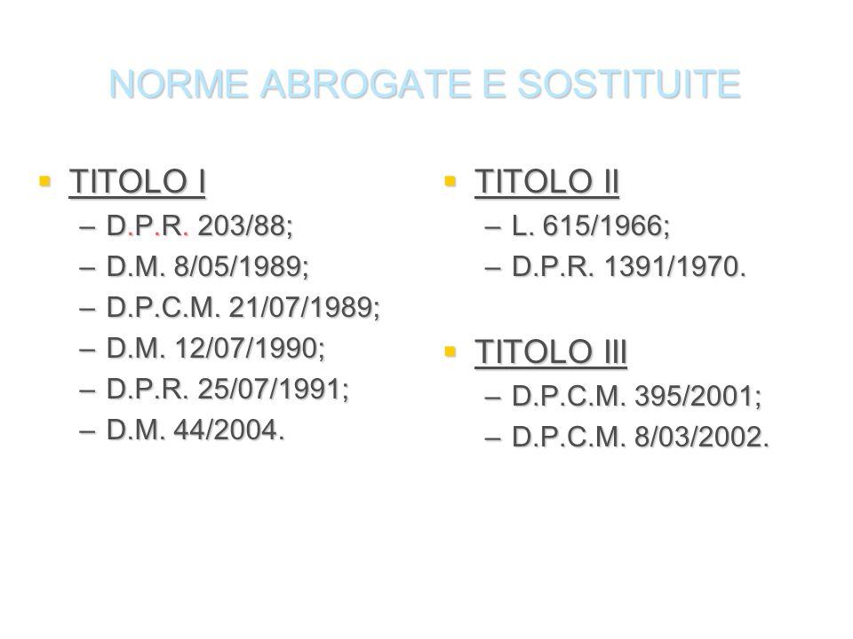 NORME ABROGATE E SOSTITUITE TITOLO I TITOLO I –D.P.R. 203/88; –D.M. 8/05/1989; –D.P.C.M. 21/07/1989; –D.M. 12/07/1990; –D.P.R. 25/07/1991; –D.M. 44/20