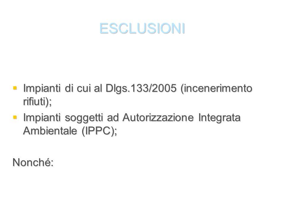 ESCLUSIONI Impianti di cui al Dlgs.133/2005 (incenerimento rifiuti); Impianti di cui al Dlgs.133/2005 (incenerimento rifiuti); Impianti soggetti ad Au