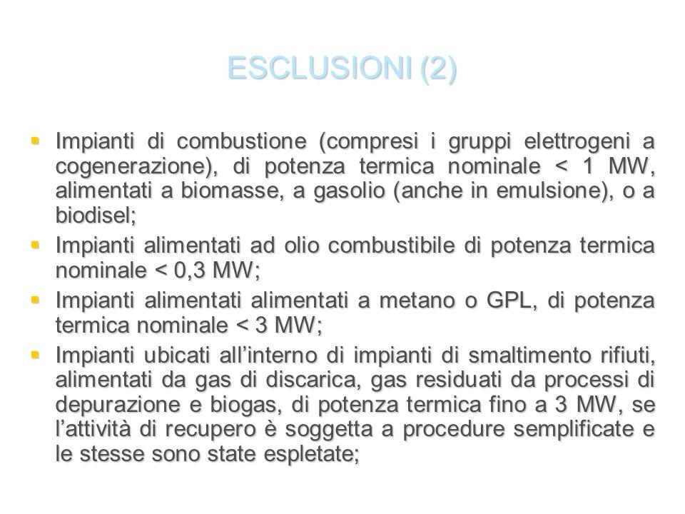 ESCLUSIONI (2) Impianti di combustione (compresi i gruppi elettrogeni a cogenerazione), di potenza termica nominale < 1 MW, alimentati a biomasse, a g