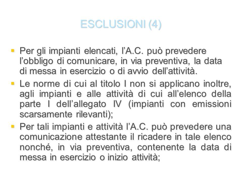 ESCLUSIONI (4) Per gli impianti elencati, lA.C. può prevedere lobbligo di comunicare, in via preventiva, la data di messa in esercizio o di avvio dell