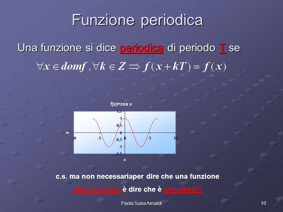 10Paola Suria Arnaldi Funzione periodica Una funzione si dice periodica di periodo T se c.s. ma non necessariaper dire che una funzione non è iniettiv