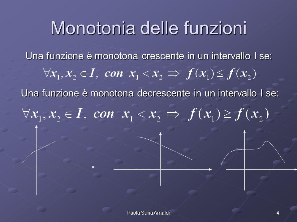 5Paola Suria Arnaldi Funzioni strettamente crescente/decrescente Una funzione è monotona strettamente crescente in un intervallo I se: Una funzione è monotona strettamente decrescente in un intervallo I se: