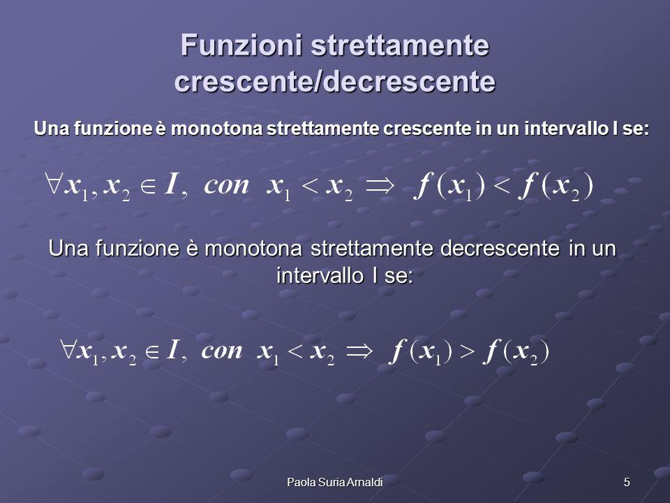 5Paola Suria Arnaldi Funzioni strettamente crescente/decrescente Una funzione è monotona strettamente crescente in un intervallo I se: Una funzione è