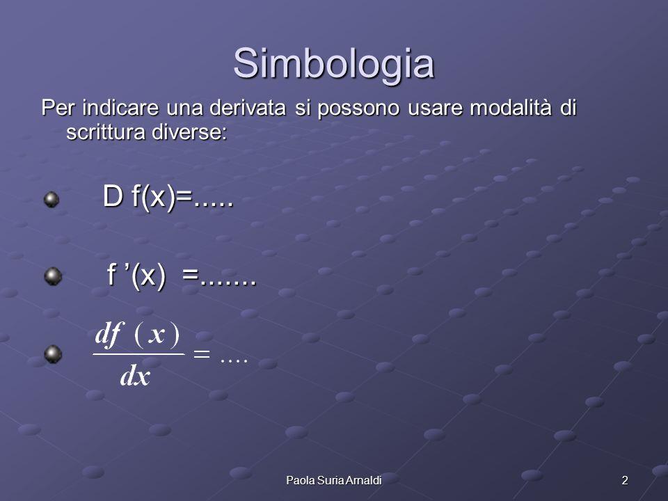 2Paola Suria Arnaldi Simbologia Per indicare una derivata si possono usare modalità di scrittura diverse: D f(x)=.....