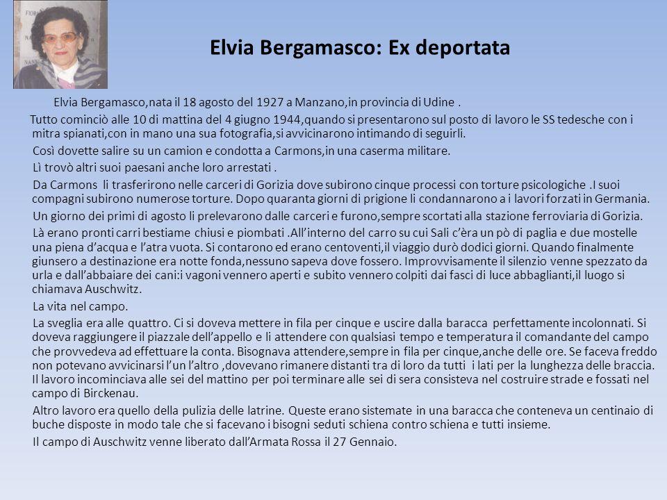 Elvia Bergamasco: Ex deportata Elvia Bergamasco,nata il 18 agosto del 1927 a Manzano,in provincia di Udine. Tutto cominciò alle 10 di mattina del 4 gi