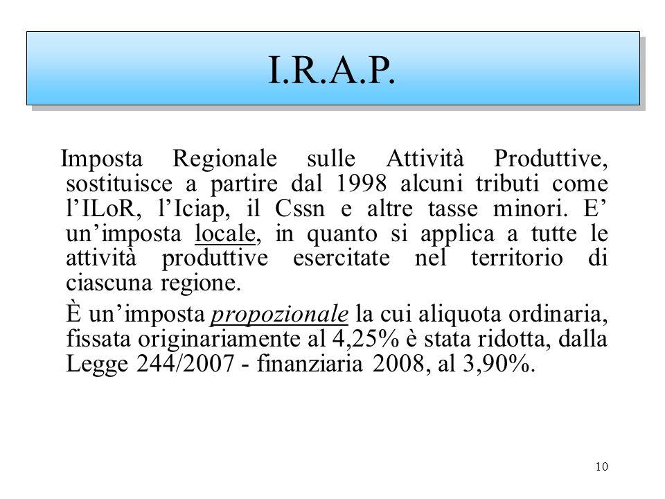 10 Imposta Regionale sulle Attività Produttive, sostituisce a partire dal 1998 alcuni tributi come lILoR, lIciap, il Cssn e altre tasse minori. E unim