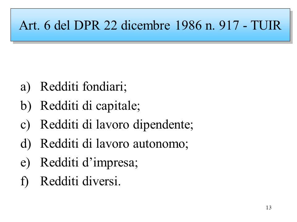 13 a)Redditi fondiari; b)Redditi di capitale; c)Redditi di lavoro dipendente; d)Redditi di lavoro autonomo; e)Redditi dimpresa; f)Redditi diversi. Art