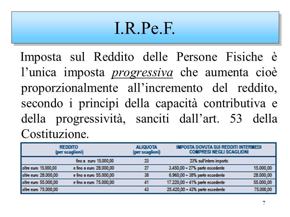 7 Imposta sul Reddito delle Persone Fisiche è lunica imposta progressiva che aumenta cioè proporzionalmente allincremento del reddito, secondo i princ