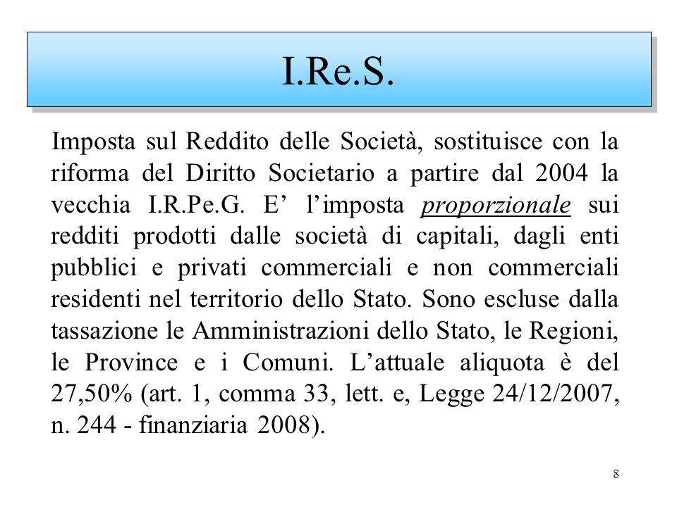 8 Imposta sul Reddito delle Società, sostituisce con la riforma del Diritto Societario a partire dal 2004 la vecchia I.R.Pe.G. E limposta proporzional