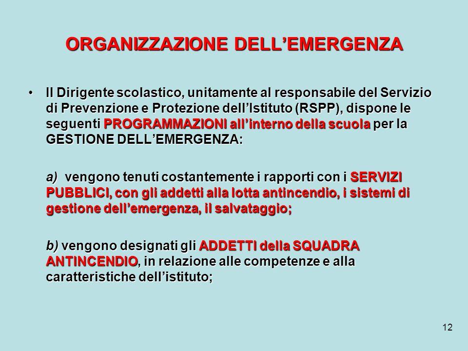 12 ORGANIZZAZIONE DELLEMERGENZA Il Dirigente scolastico, unitamente al responsabile del Servizio di Prevenzione e Protezione dellIstituto (RSPP), disp