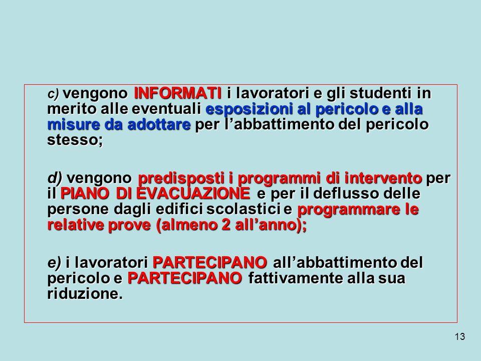 13 c) vengono INFORMATI i lavoratori e gli studenti in merito alle eventuali esposizioni al pericolo e alla misure da adottare per labbattimento del p