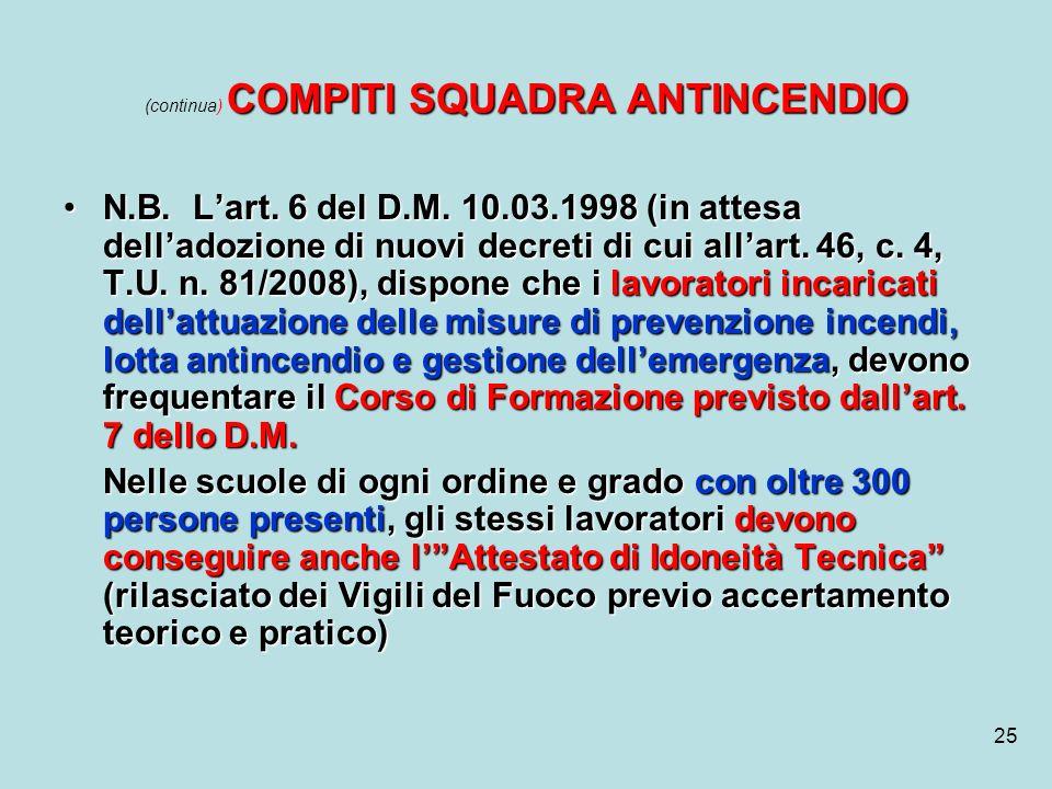 25 COMPITI SQUADRA ANTINCENDIO (continua) COMPITI SQUADRA ANTINCENDIO N.B. Lart. 6 del D.M. 10.03.1998 (in attesa delladozione di nuovi decreti di cui
