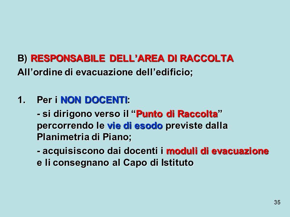 35 B) RESPONSABILE DELLAREA DI RACCOLTA Allordine di evacuazione delledificio; 1.Per i NON DOCENTI: - si dirigono verso il Punto di Raccolta percorren