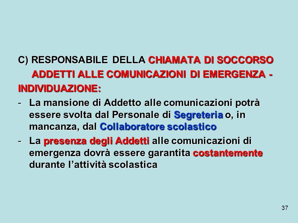 37 C) RESPONSABILE DELLA CHIAMATA DI SOCCORSO ADDETTI ALLE COMUNICAZIONI DI EMERGENZA - ADDETTI ALLE COMUNICAZIONI DI EMERGENZA -INDIVIDUAZIONE: -La m