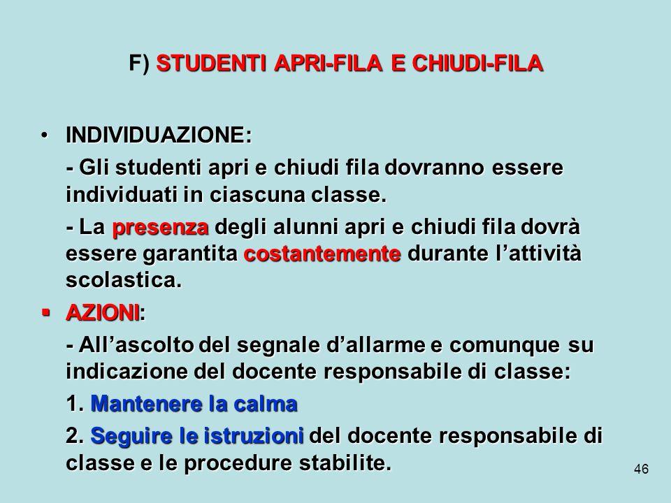 46 STUDENTI APRI-FILA E CHIUDI-FILA F) STUDENTI APRI-FILA E CHIUDI-FILA INDIVIDUAZIONE:INDIVIDUAZIONE: - Gli studenti apri e chiudi fila dovranno esse