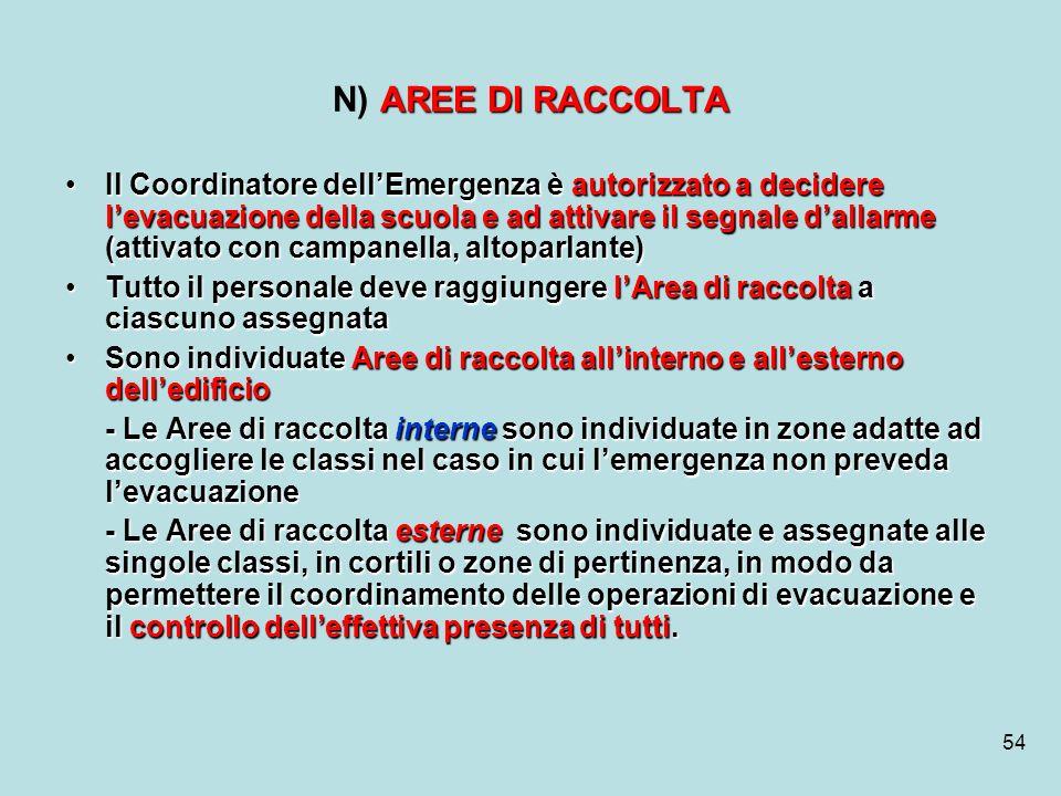 54 AREE DI RACCOLTA N) AREE DI RACCOLTA Il Coordinatore dellEmergenza è autorizzato a decidere levacuazione della scuola e ad attivare il segnale dall