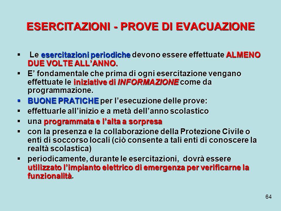 64 ESERCITAZIONI - PROVE DI EVACUAZIONE Le esercitazioni periodiche devono essere effettuate ALMENO DUE VOLTE ALLANNO. E fondamentale che prima di ogn